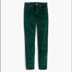 "Green Petite 9"" high-rise toothpick velvet pants"